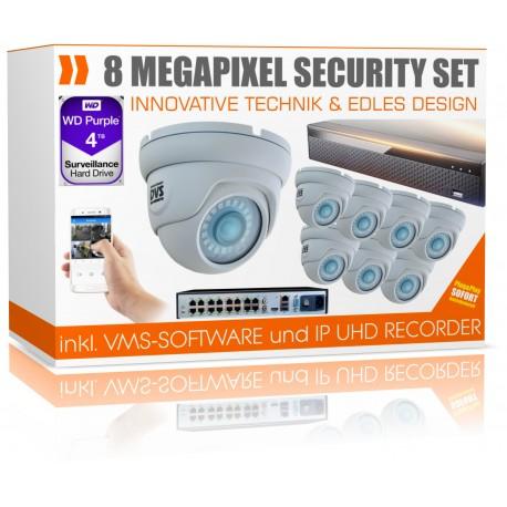 UltraHD Videoüberwachung Set 4000GB inkl. 8x 4K Dome Überwachungskameras