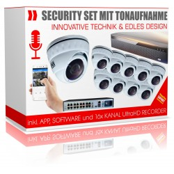 10x Überwachungskameras mit Tonaufnahme Mikrofon inkl. PoE Recorder