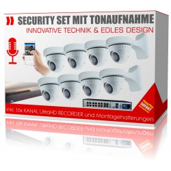 8x Mikrofon Videoüberwachung IP PoE Kameras mit Wandhalterungen und 4 K Recorder