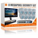 Videoüberwachung Set mit Monitor 28 Zoll UltraHD 4K Rekorder inkl. 8x 4K Dome IP Poe Kameras