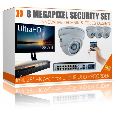 UltraHD surveillance camera set with 28 inch monitor 4K recorder incl.4x 4K dome IP Poe cameras