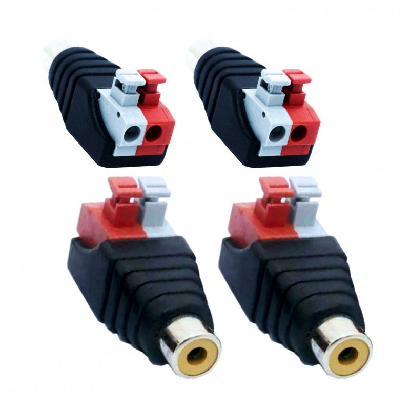 2 pieces Cinch socket RCA adapter Terminal block Female push-in fittings (plug connections) 2-pin terminals DC AV block