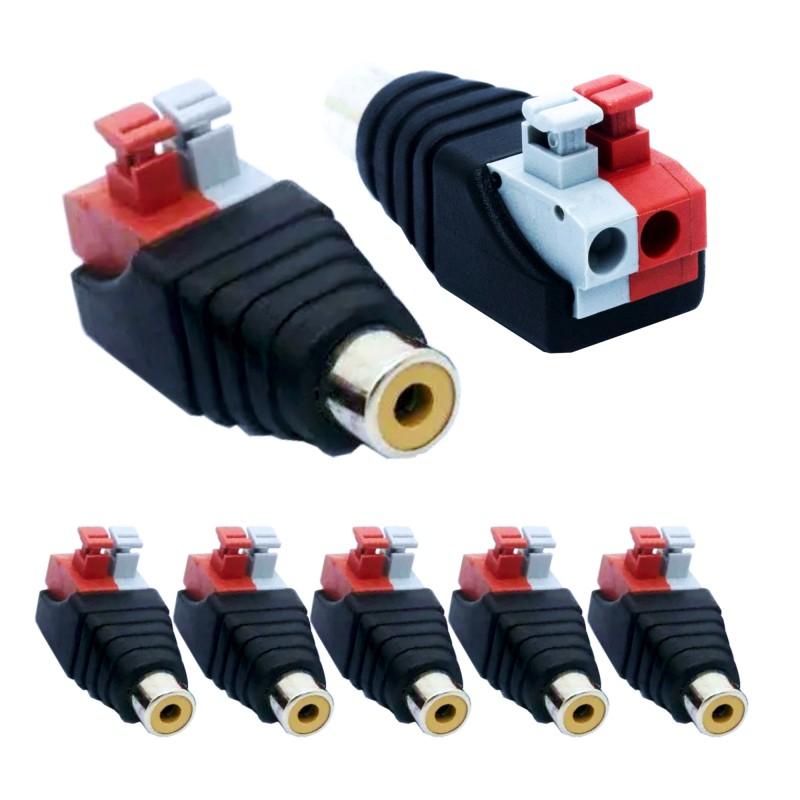 5 pieces RCA cinch socket adapter terminal block push-in fittings (plug connections) 2-pin terminals DC AV block