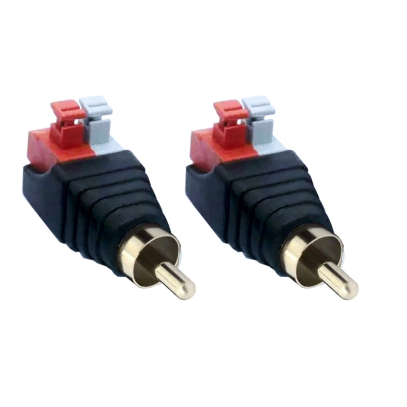 2 male cinch RCA adapter terminal block female push-in fittings (plug connections) 2-pin terminals DC AV block