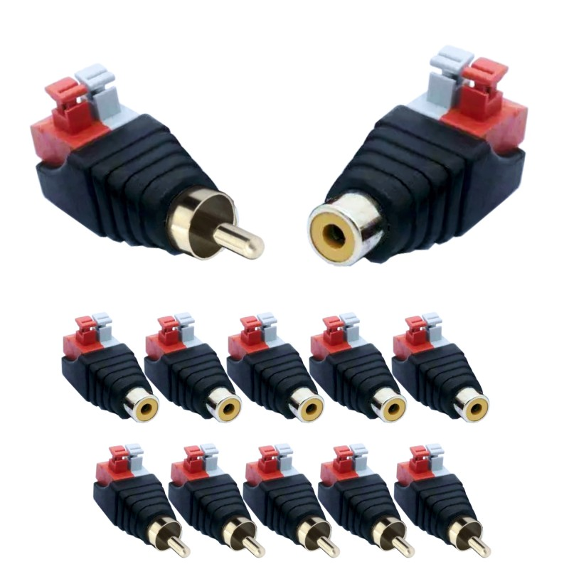10 pieces RCA cinch socket and plug set adapter terminal block push-in fittings (plug connections) 2-pin terminals DC AV block