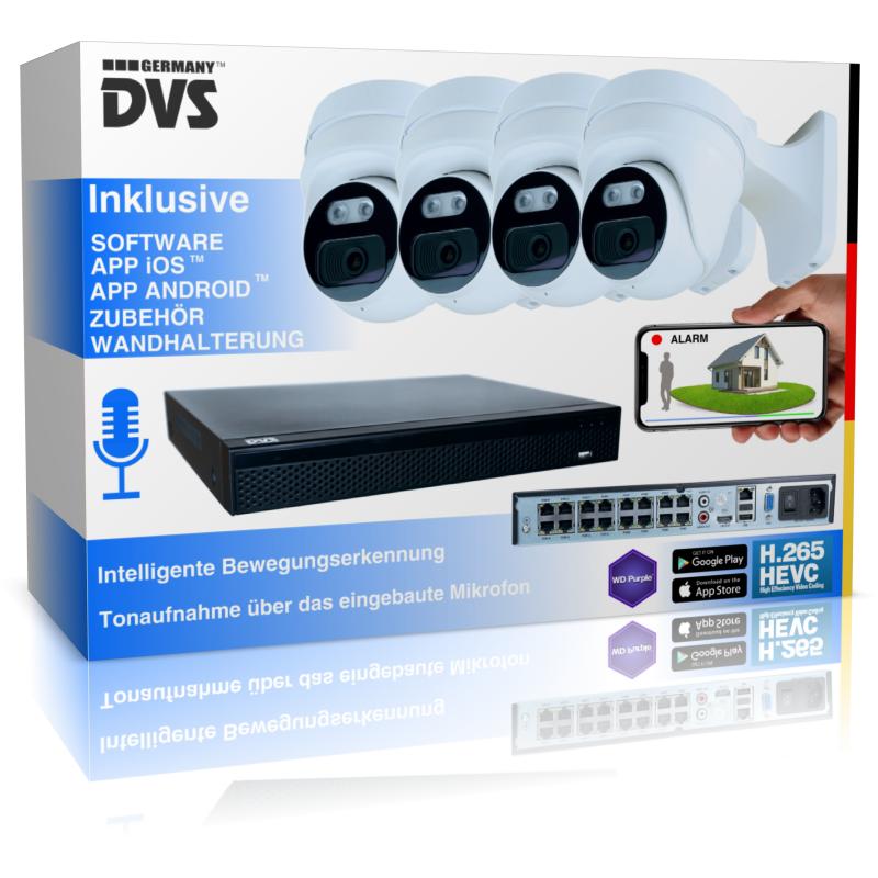 Professionelle UltraHD Videoüberwachung für Gewerbe & Privat 4 PoE Kameras mit Mikrofon