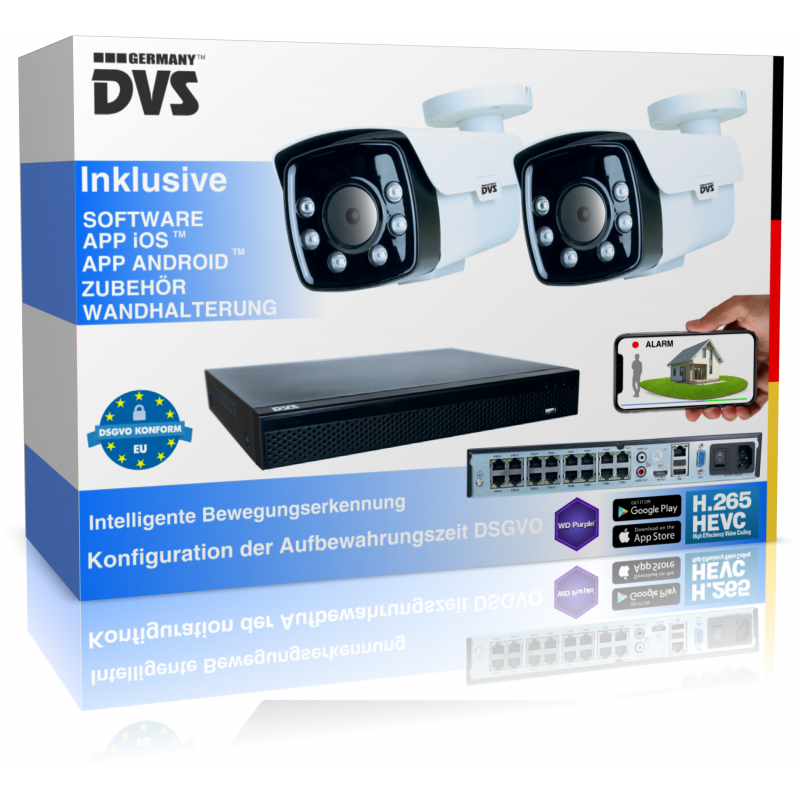 Outdoor 4K video surveillance with intelligent human recognition including alarm function