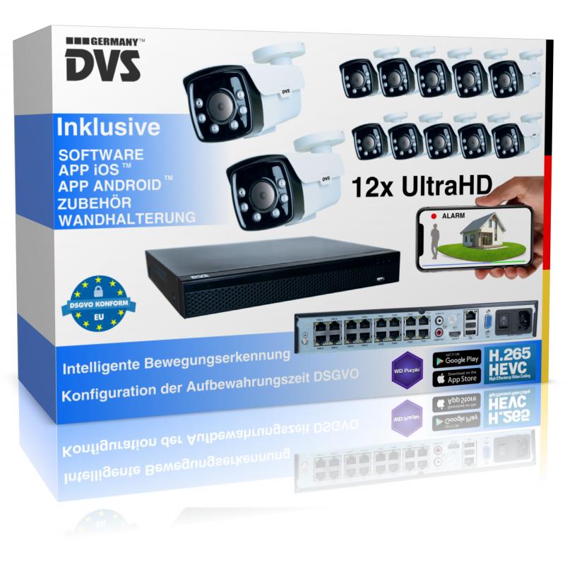 12x 8MP Ultra HD IP Kamera Set Überwachungskamera für Aussen mit IR Nachtsicht und Menschenerkennung